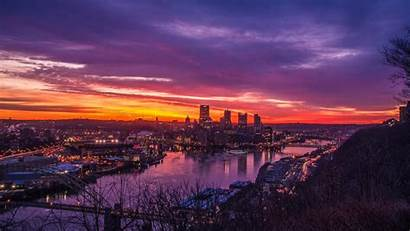 Sunset Cityscape Pittsburgh Px Wallpapers Wallhere