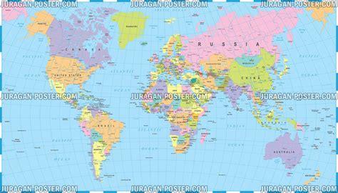 world map peta dunia jual poster  juragan poster