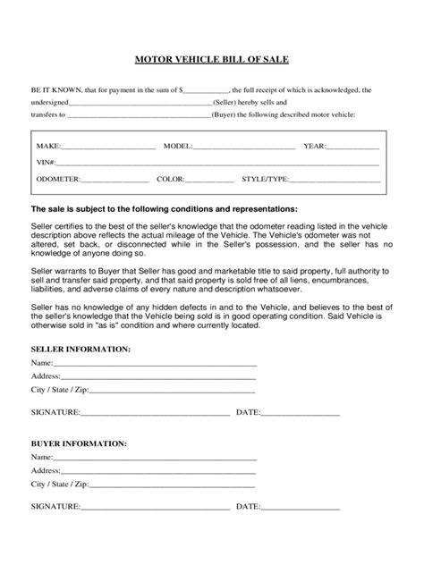 florida bill  sale form  templates   word