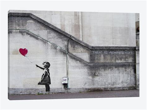 There Is Always Hope Balloon Girl Canvas Print by Banksy   iCanvas
