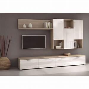 Meuble Tv C Discount : living blanc laque achat vente living blanc laque pas cher cdiscount ~ Teatrodelosmanantiales.com Idées de Décoration
