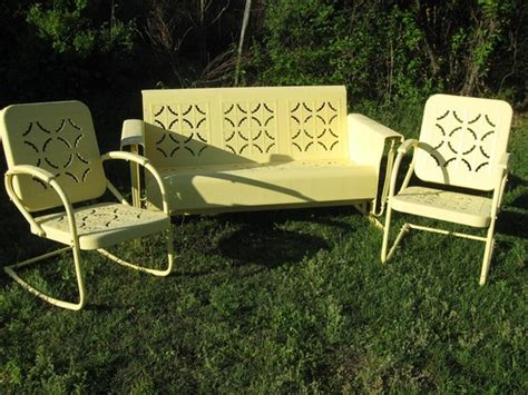 unique patio gliders 3 vintage metal glider and chairs