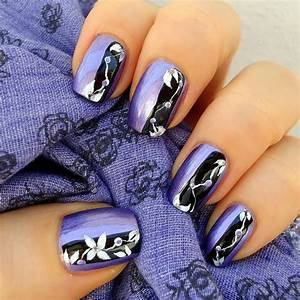 Purple black nail art design with flower trendy mods