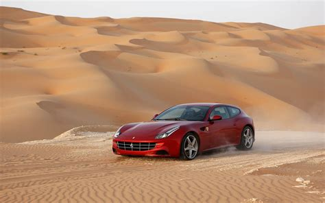 Car, Ferrari Ff, Red Cars, Desert, Dune Wallpapers Hd