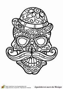 Dessin Tete De Mort Avec Rose : coloriage cr ne en sucre mexicain moustache et chapeau ~ Melissatoandfro.com Idées de Décoration