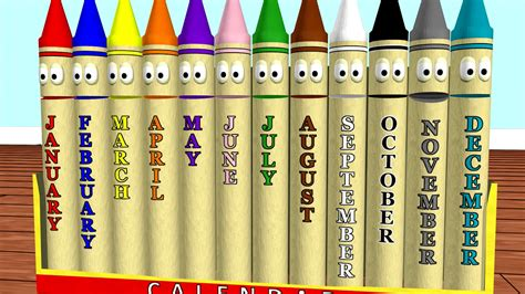 Calendar Crayons Teach Months of the Year - YouTube