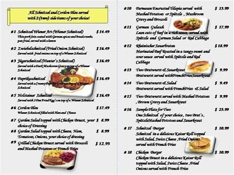 german cuisine menu 39 s german restaurant menu urbanspoon zomato