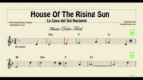 House Of The Rising Sun Easy Sheet Music For Flute With