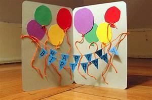 Geburtstagskarte Basteln Einfach : geburtstagskarte mit 3d effekt ballons und girlande karten ~ Orissabook.com Haus und Dekorationen