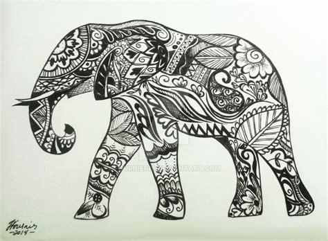 drawn elephant henna pencil   color drawn elephant