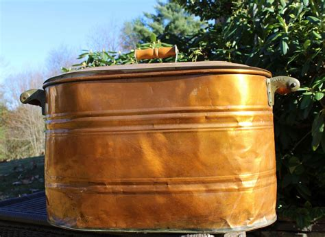 antique  revere large copper canning steamer boiler wash tub lid vintage copper pots
