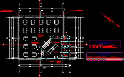 cafeteria  floor plans  dwg design plan  autocad