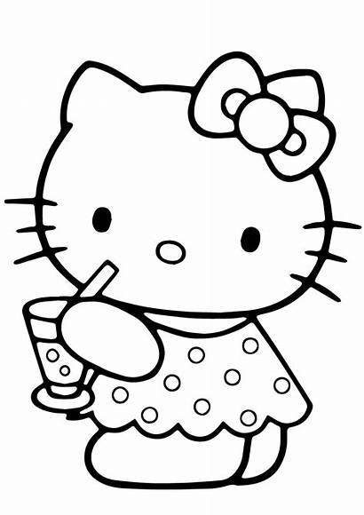 Kitty Coloring Hello Summer Pages Printable Drawing