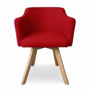 Chaise Scandinave Rouge : fauteuil scandinave rouge en tissu rigo pas cher scandinave deco ~ Teatrodelosmanantiales.com Idées de Décoration