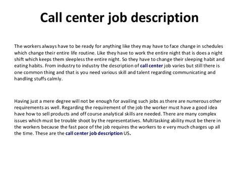 Call Centre Representative Description by Call Center Description