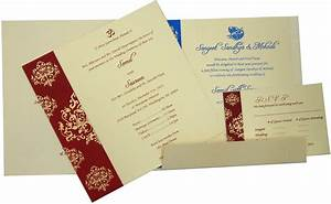 Card design ideas foldable design white blue red color for Images of hindu wedding invitations