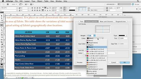 Formatting Table Strokes In Indesign