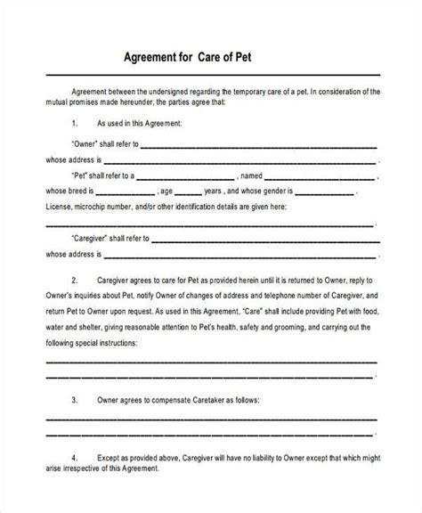 custody agreement forms business template