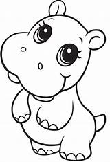 Hippo Cute Coloring Pages Printable Going Categories Animals Coloringonly sketch template