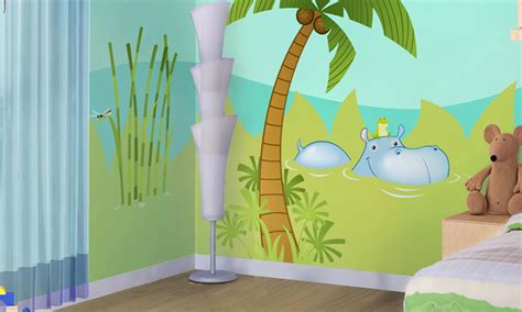 chambre 3 enfants chambre bébé la jungle leostickers