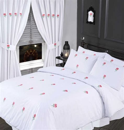 white pink colour stylish embroidered floral duvet cover
