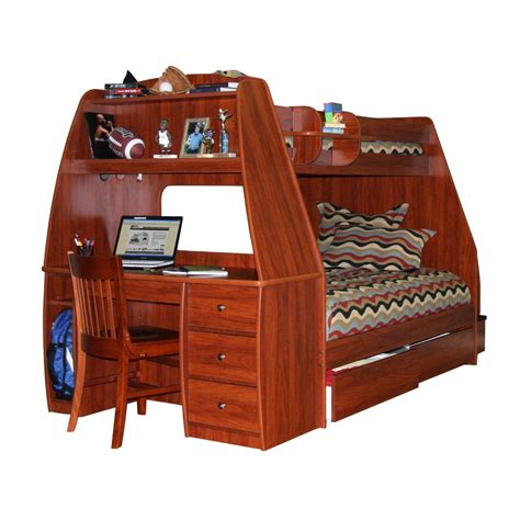 desk bunk bed wooden bunk bed with drawers storage