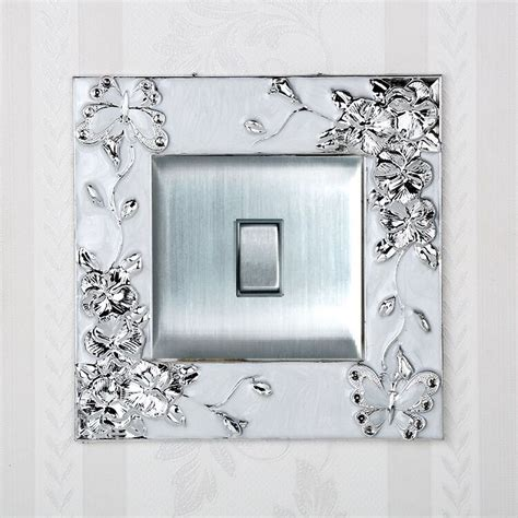silver butterfly flower single light switch surround