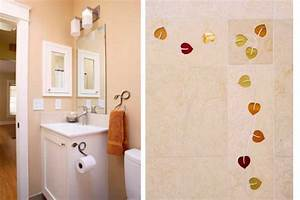 Bay area small bathroom remodeling with leaf pattern tile for Bay area bathroom remodel