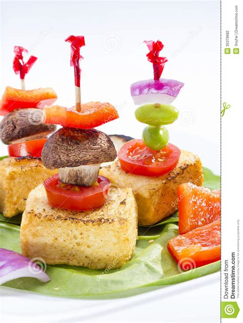 canapé 2places fried tofu canape stock photography image 35379682