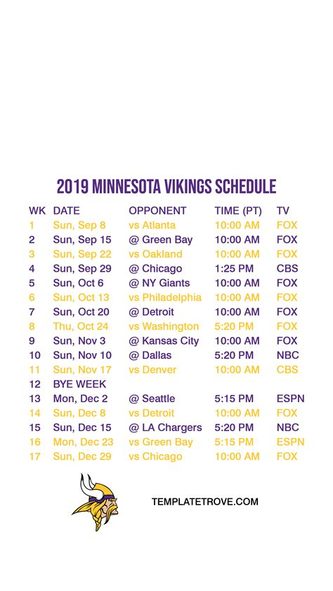 minnesota vikings lock screen schedule