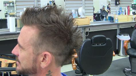 mens hairstyle haircut  faded mohawk frohawk