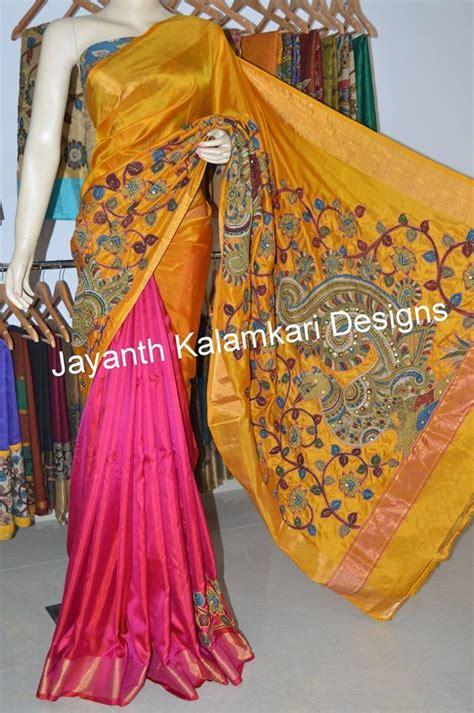 uppada silk with pen kalamkari patch work saree jkd4182 pen kalamkari sarees saree blouse
