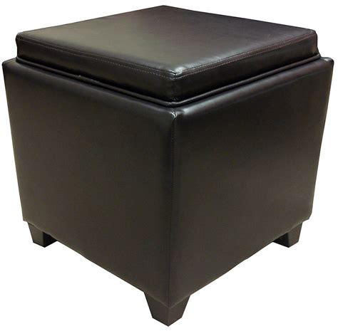 leather ottoman with storage and tray rainbow brown bonded leather storage ottoman with tray