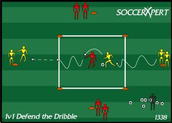 soccer drill diagram  defending  dribble coach