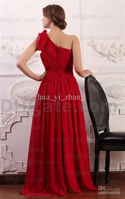 2015 Dark Red A Line Chiffon Evening Dresses Flowered One ...
