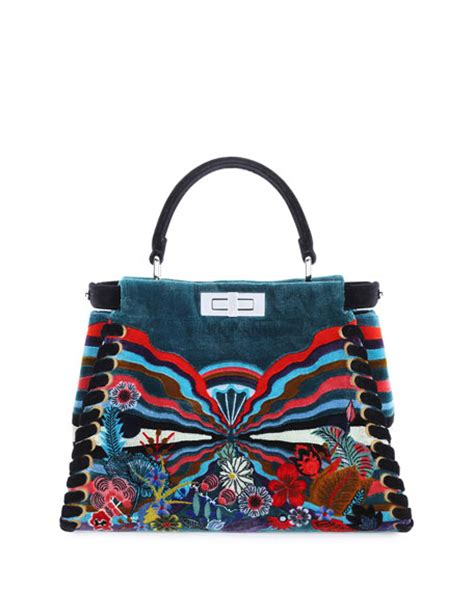 fendi peekaboo medium embroidered velvet bag black multi