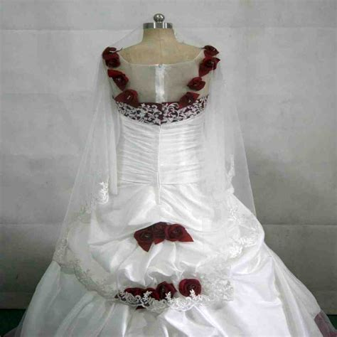 White Wedding Dress With Red Roses Wedding And Bridal
