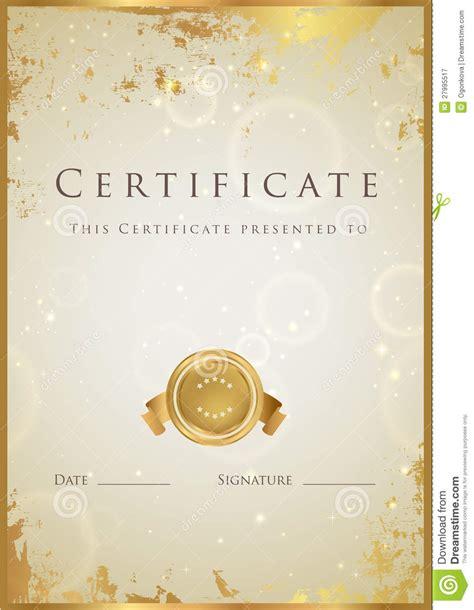 gold certificate diploma award template pattern royalty