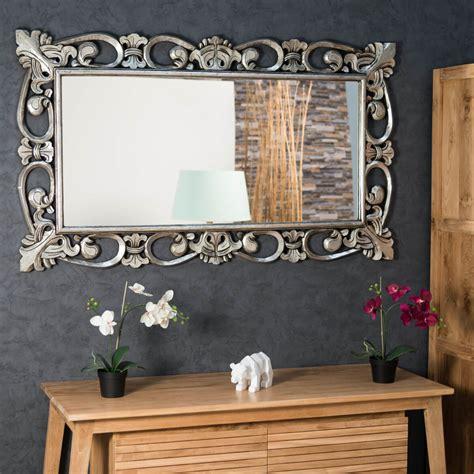 miroir cordoue en bois patine argente