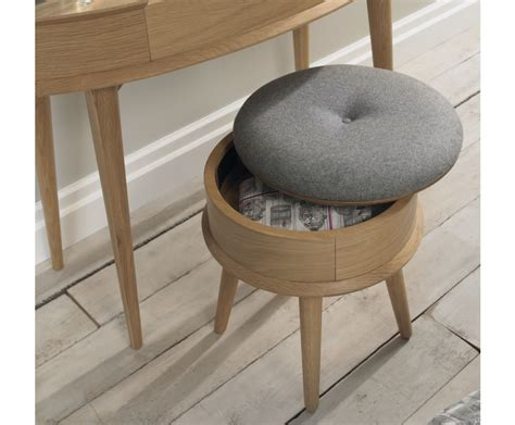 orbit oak upholstered stool