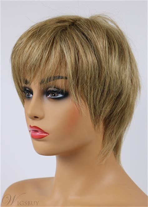 latest trend short layered straight lisa rinna hairstyle capless human hair wig  inches