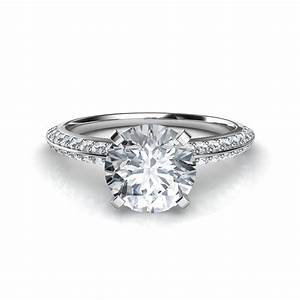 two row knife edge pave diamond engagement ring With solitaire engagement ring with pave wedding band