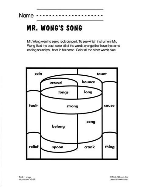 Ong  Free Phonics Worksheet  Consonant Blends & Digraphs  Pinterest  Phonics Worksheets