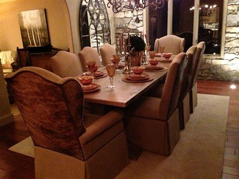 skirted parsons chairs dining room furniture faux leather
