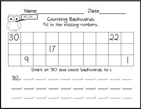 counting backwards kindergartenklub counting backwards math classroom first grade math