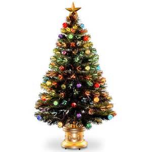national tree company 4 pre lit led fiber optic and decorated artificial fireworks christmas