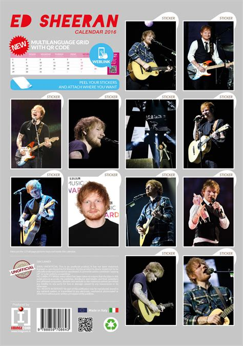 ed sheeran calendars   europosters