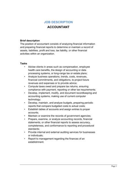 Tax Accountant Description Duties by Accountant Description Template Sle Form