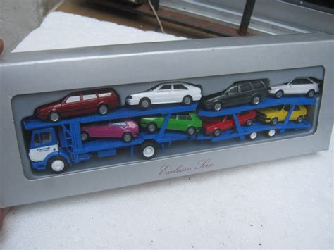 Camion Porta Auto Camion Mb Con Remolque Porta Autos Y 8 Autos Vw Herpa H0