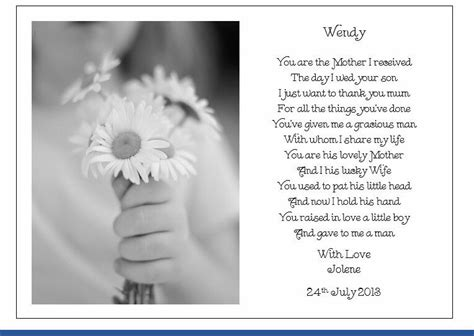 personalised wedding day poem gift    mother
